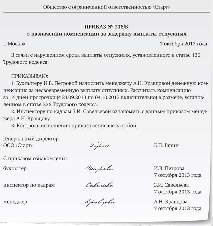 Образец приказа о перерасчете отпускных