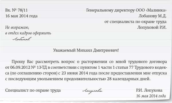 Заявление на Увольнение по Соглашению Сторон образец