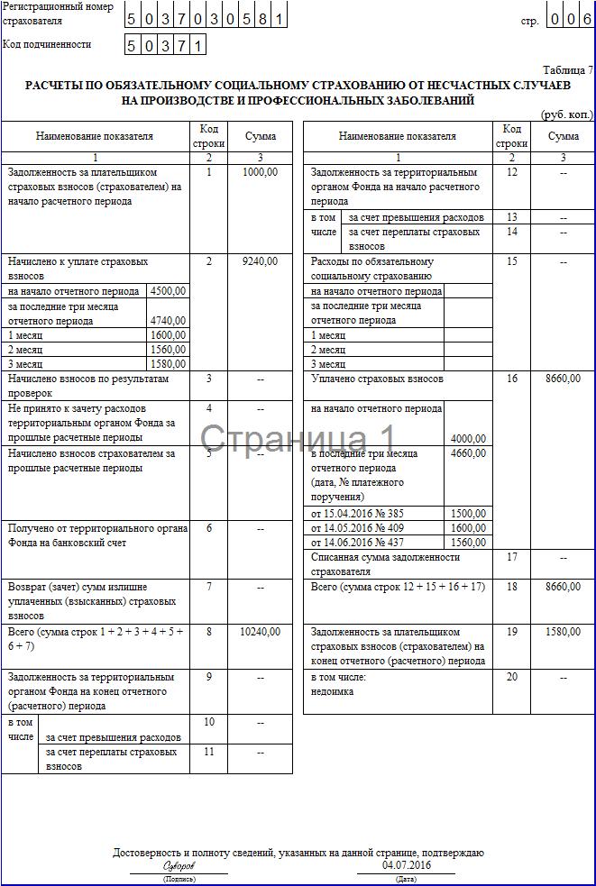 Пример заполнения 4-ФСС за 2 квартал 2016 года
