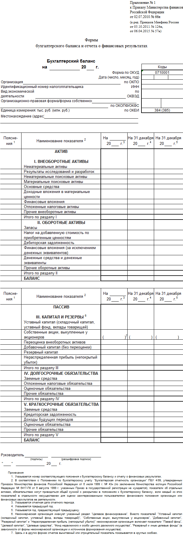 Бухгалтерский баланс (форма 1) бланк за 2016 год