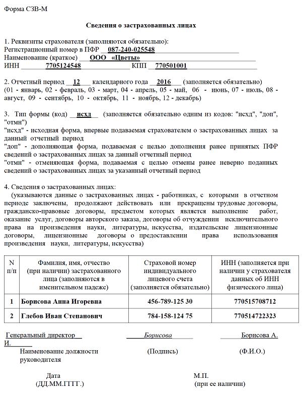 Форма СЗВ-М за декабрь 2016 года