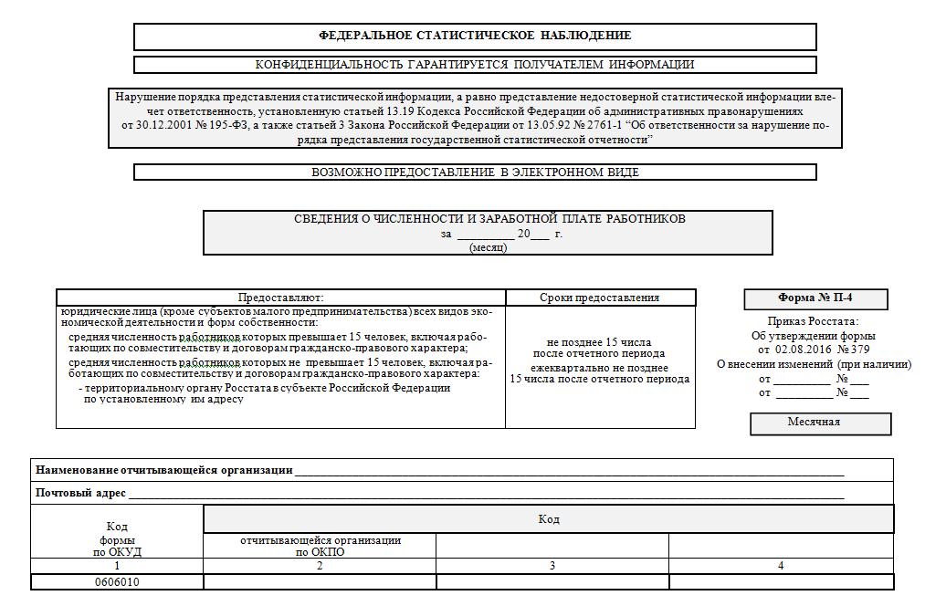 бланки стат.отчетов п-4 нз - ilya-muromec.ru