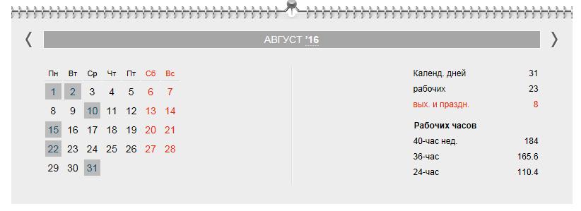 Календарь бухгалтера на август 2016 года