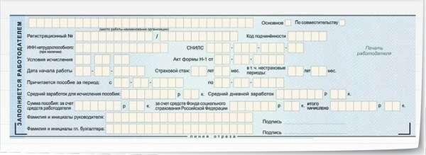 Образец заполнения больничного листа работодателем
