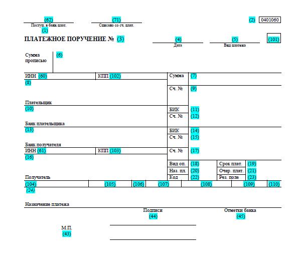 образец заполнения платежного требования в 2015 году