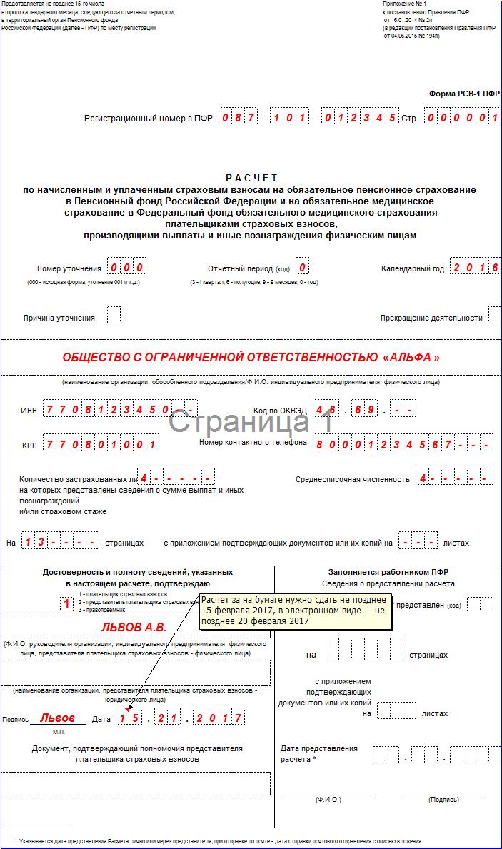 Отчетность в ПФР за 4 квартал 2016 год: новая форма