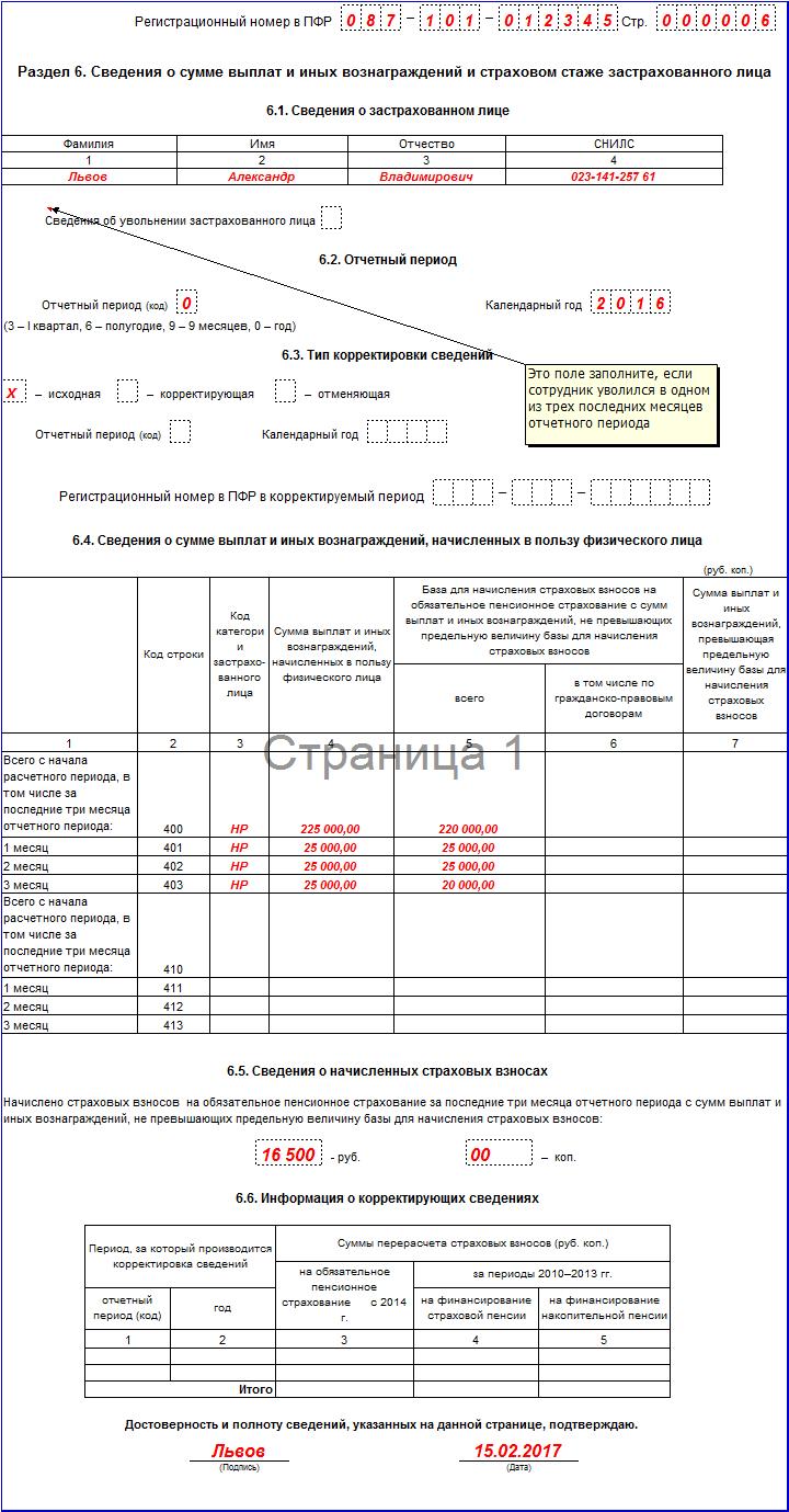Отчетность в ПФР за 4 квартал 2016 год бланк