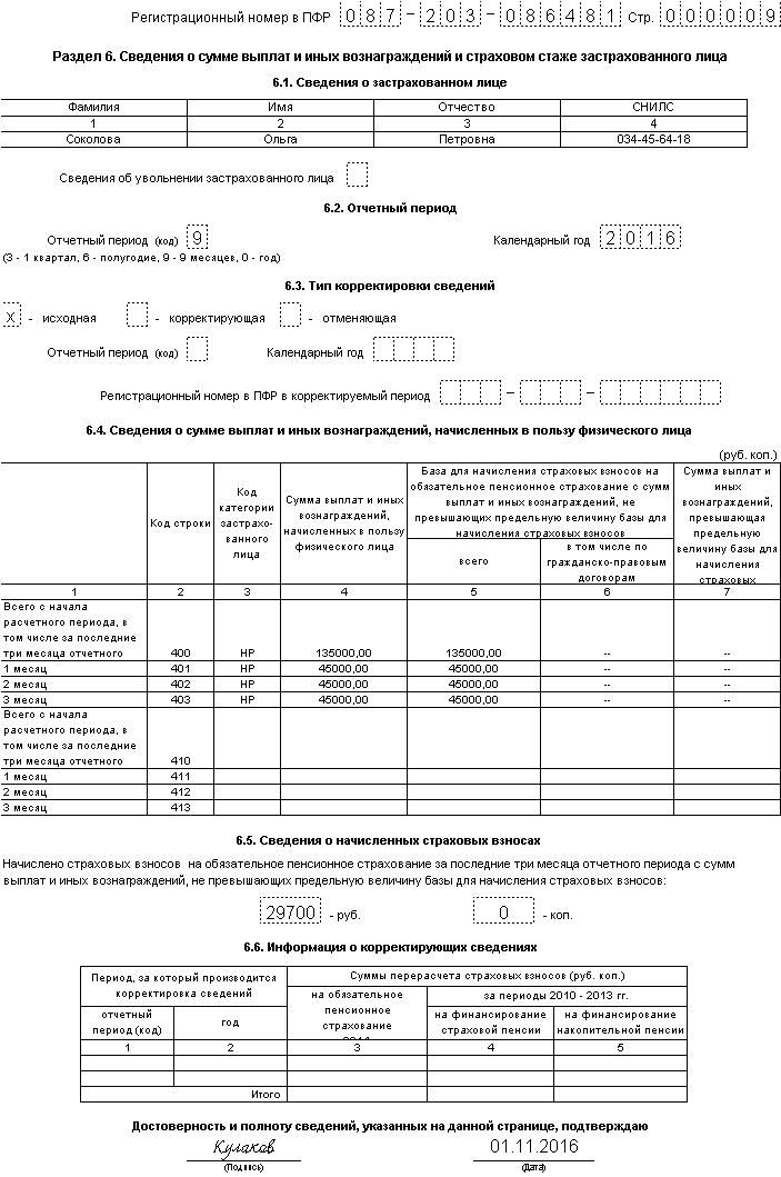 Пример заполнения РСВ-1 за 3 квартал 2016 года