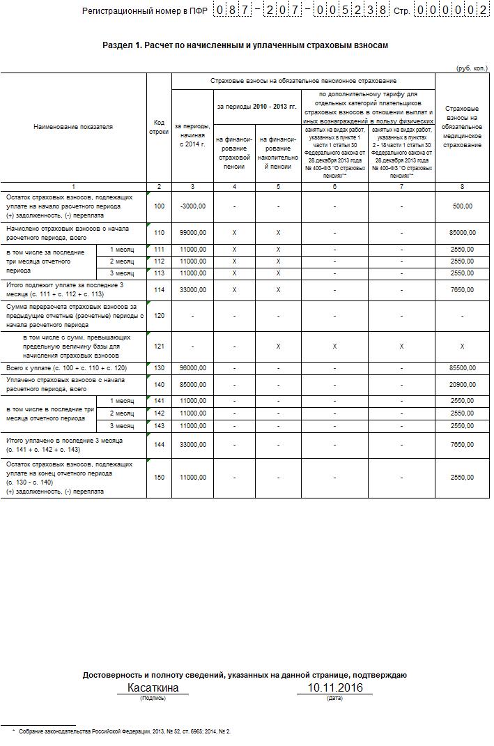 Пример заполнения РСВ-1 за 9 месяцев 2016 года: раздел 1