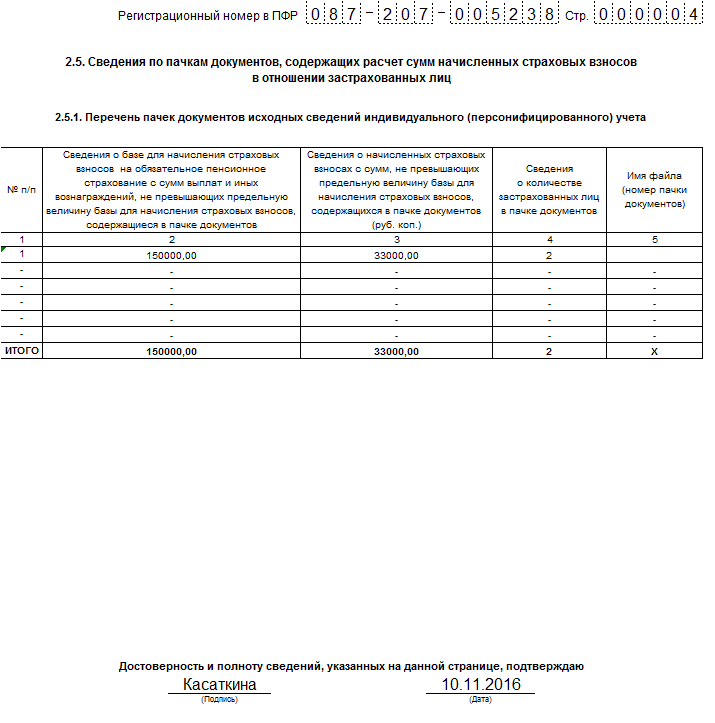 Пример заполнения РСВ-1 за 9 месяцев 2016 года: раздел 2.5.1
