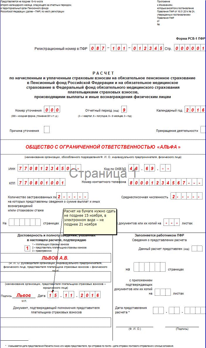 РСВ-1 за 9 месяцев 2016 года