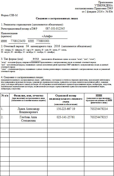 Отчетность в ПФР за 2 квартал 2016 года: форма СЗВ-М