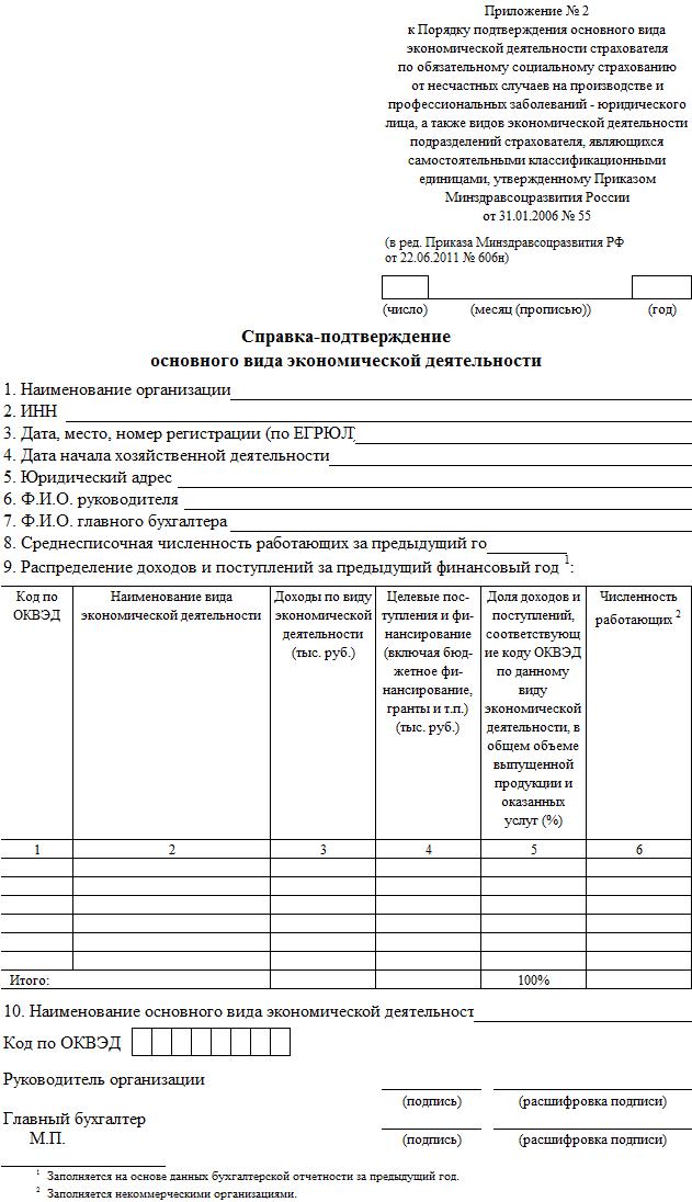 Справка-подтверждение основного вида деятельности в ФСС 2017 бланк