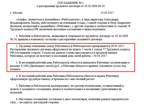 Увольнение по соглашению сторон с выплатой компенсации в 2017 году