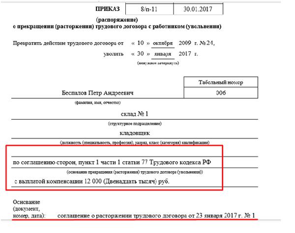 Увольнение по соглашению сторон в 2017 году