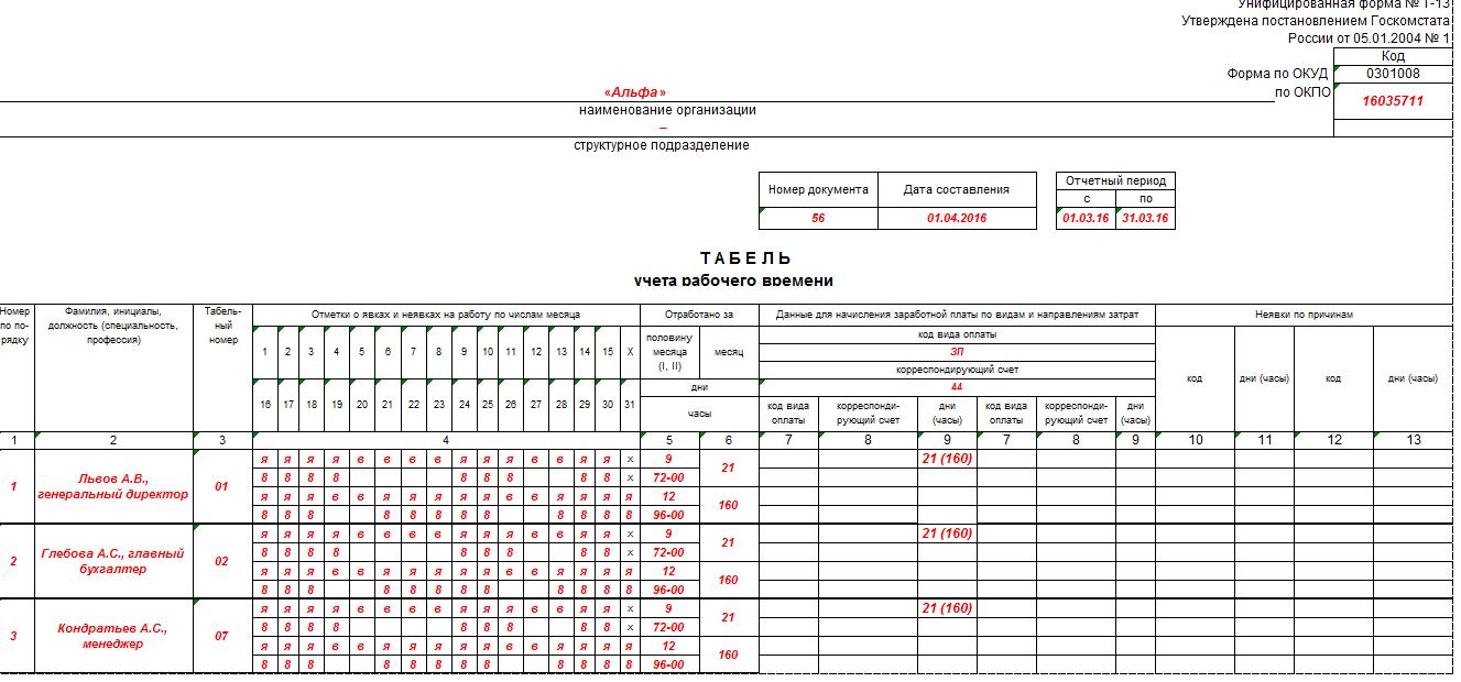 табель учета рабочего времени т-10 бланк