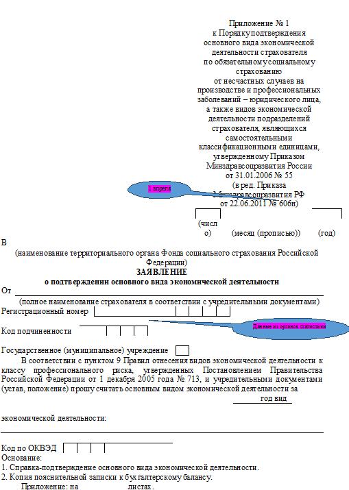 Заявление о подтверждении основного вида деятельности в ФСС 2017 бланк