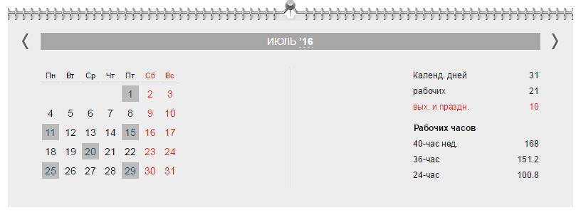 Календарь бухгалтера на июль 2016 года