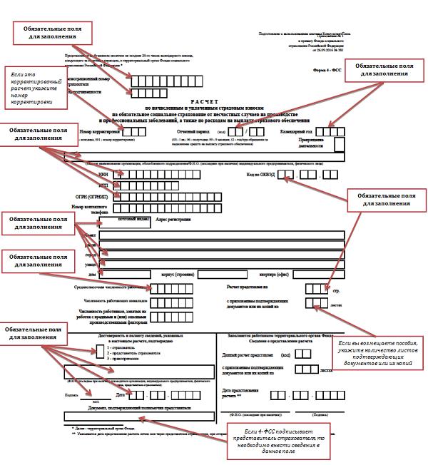 Как заполнять форму 4 фсс