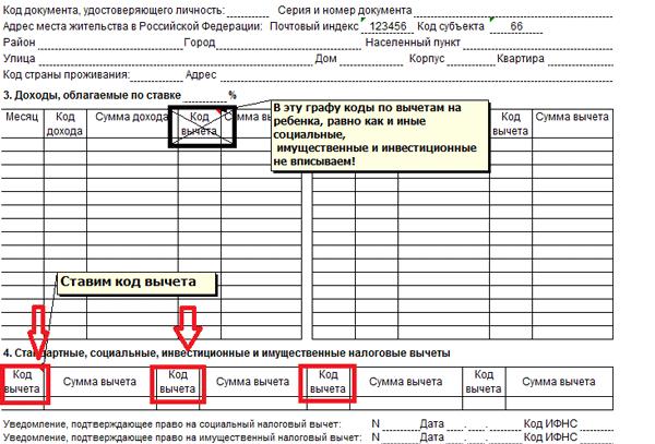 Код имущественного вычета в справке 2 ндфл справка 2 ндфл пример заполнения